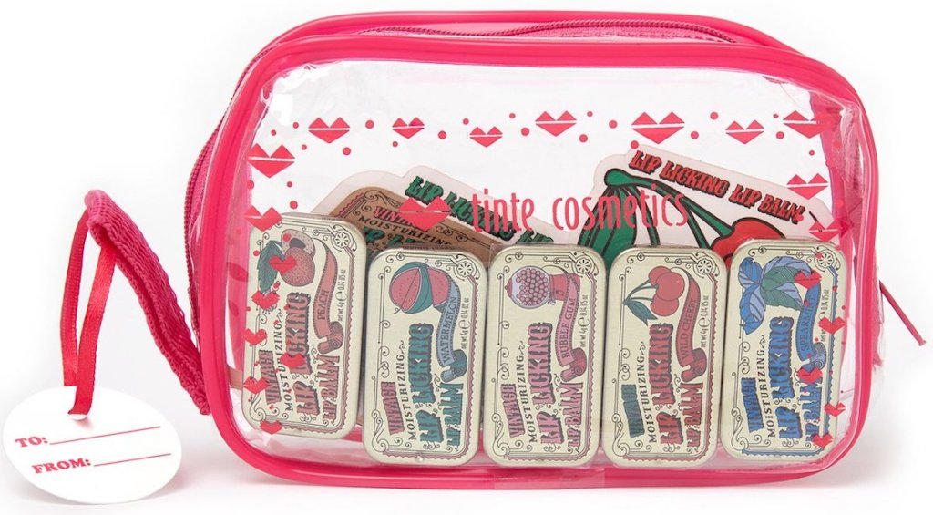 clear pink and heart bag with 5 lip licking products