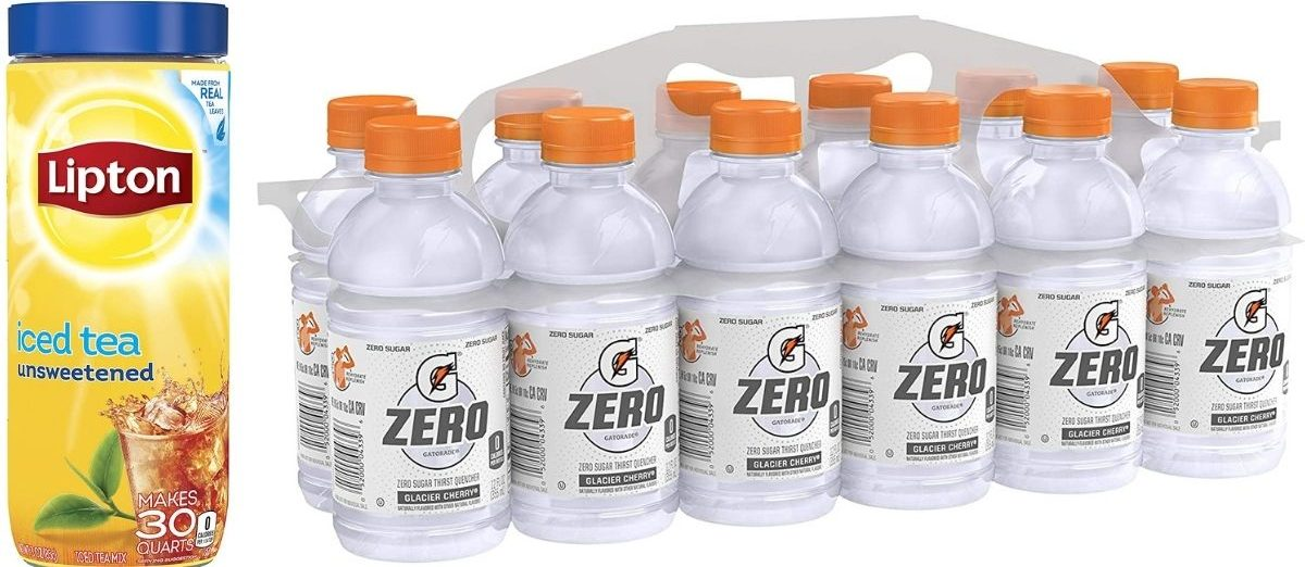 Lipton Unsweetened Iced Ta Mix and Gatorade Zero Mini Bottles