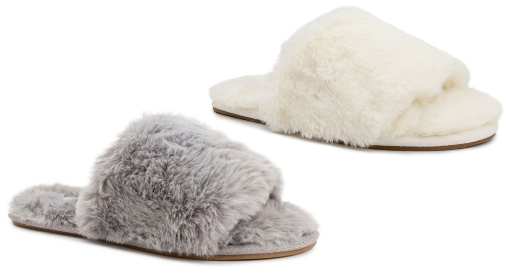 two pairs of fuzzy slipper slides in grey and cream colors