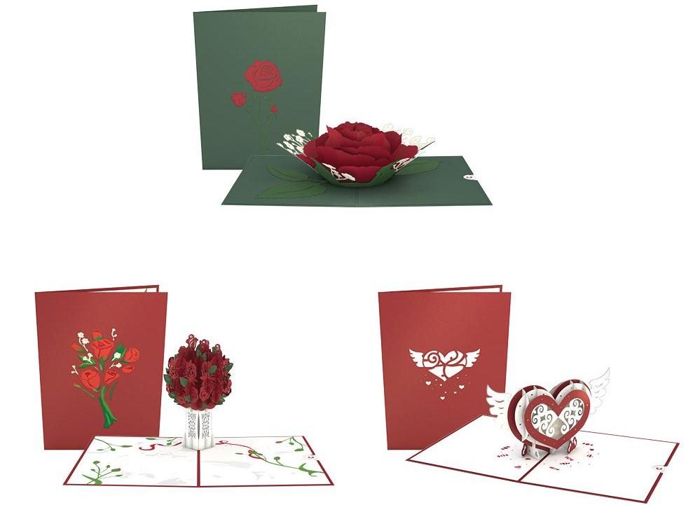 three LovePop pop-up cards