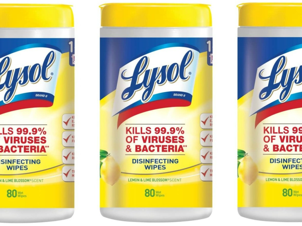 Three containers of Lysol Wipes