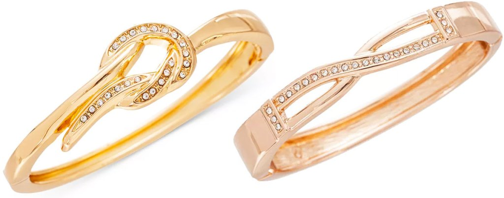 two bracelets in gold and rose gold colors with knot and infinity details in crystals