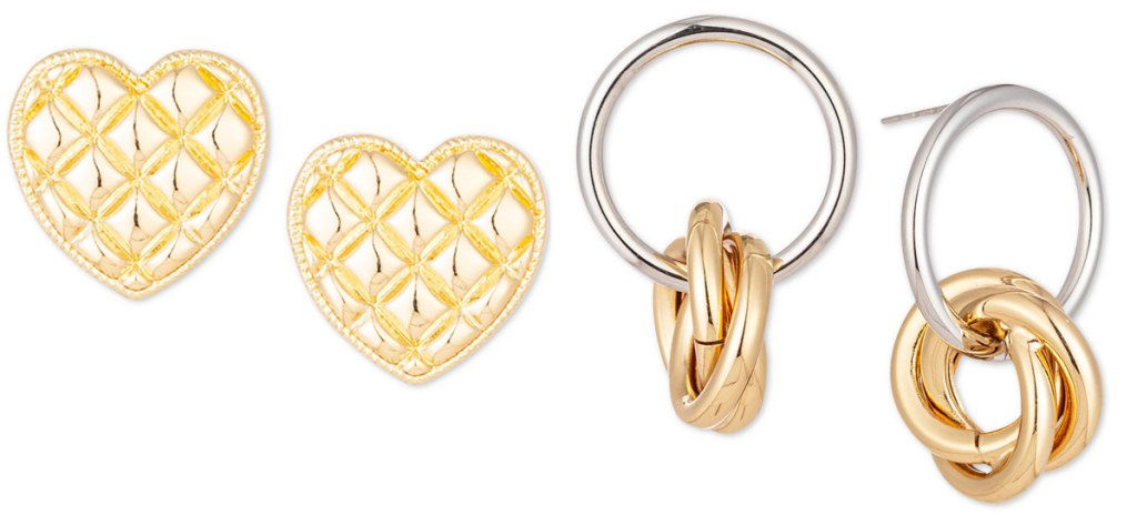 gold heart shaped earrings and silve and gold double hoop earrings