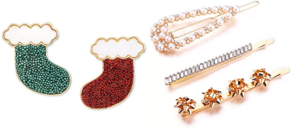 red and green stocking shaped earrings and set of 3 gold hair clubs with pearls, crystals, and gold bows