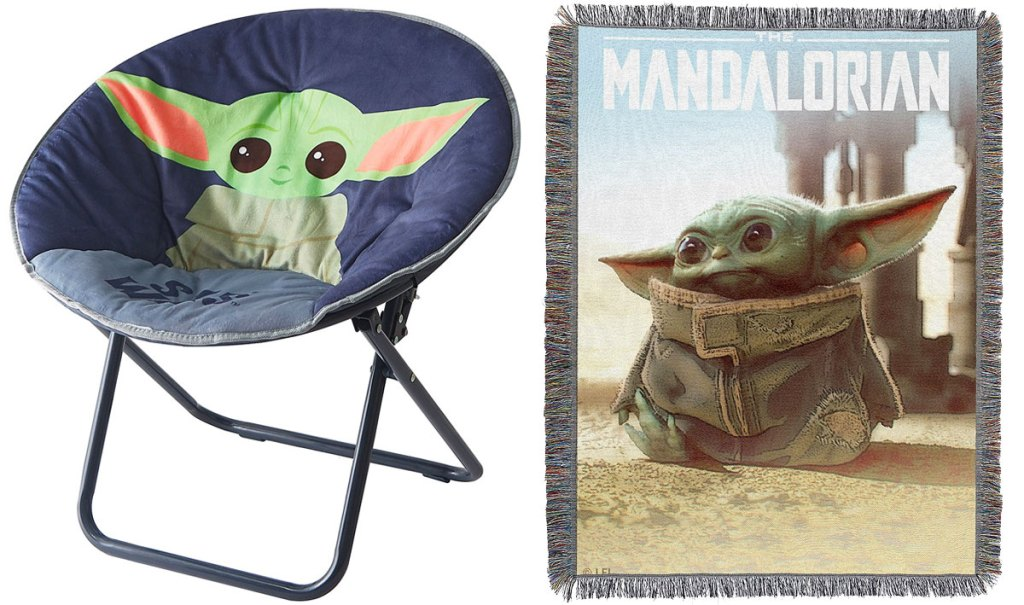 mandalorian kids saucer chair and baby yoda tapestry blanket