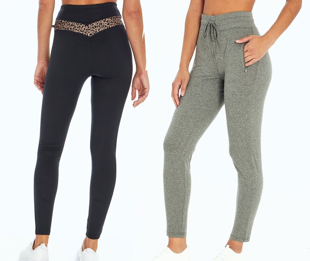 two women modeling legging in black with leopard accent at waist, and pair of green joggers