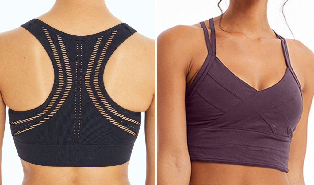 two women modeling sports bras in black with cut-out back details and purple with wrap design