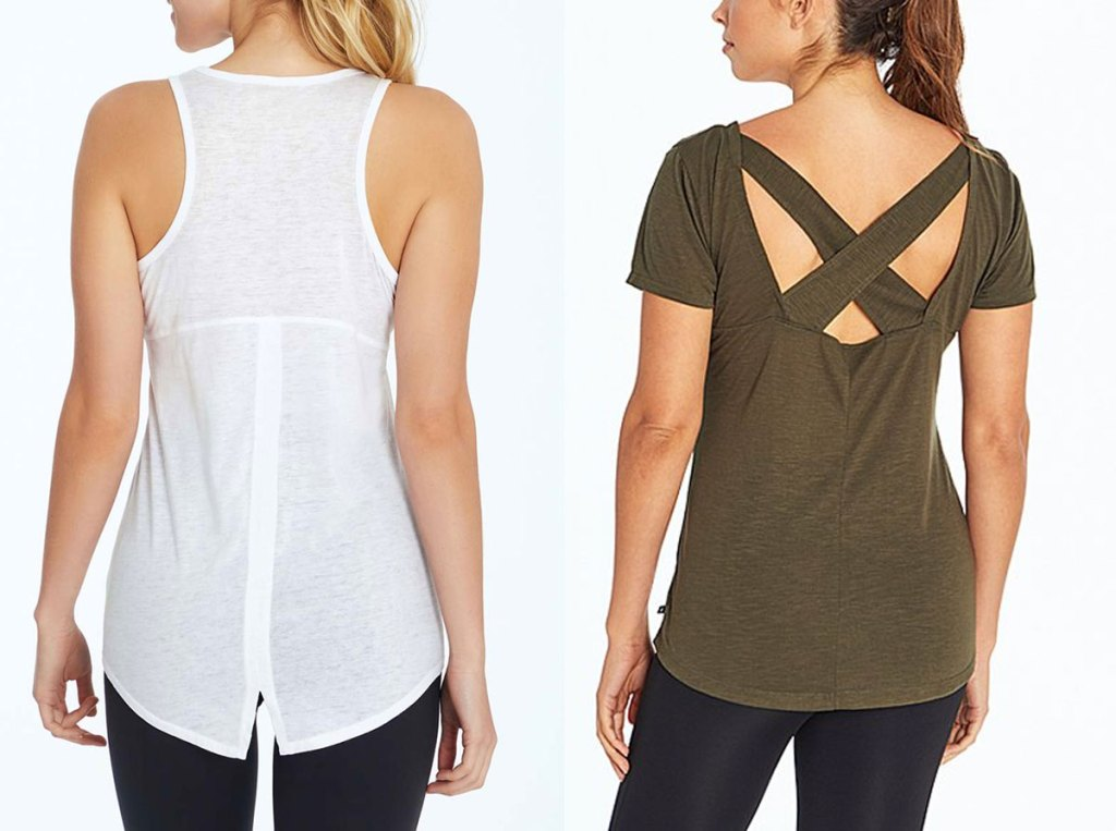 woman in white tank top with seam up the center of the back, and woman in olive green shirt with criss-cross back straps