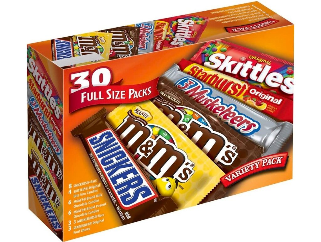 box of 30 full-size candy bars with Snickers, M&M's Milk Chocolate, M&M's Peanut, Skittles, Starburst, and 3 Musketeers bars
