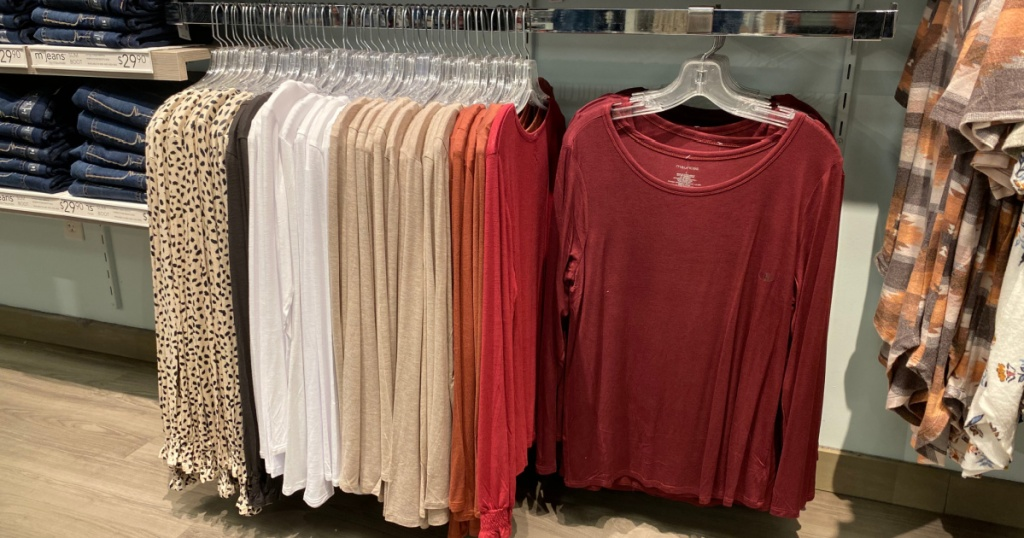 red, white, beige, and leopard print long sleeve shirts at maurices
