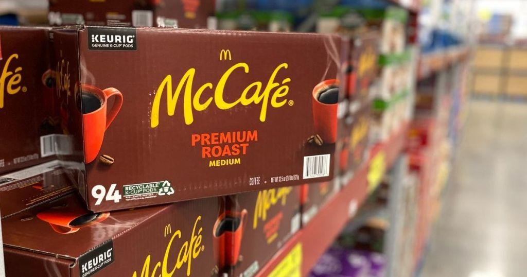 McCafe Premium Roast 94-Count K-Cups on Shelf at Sams