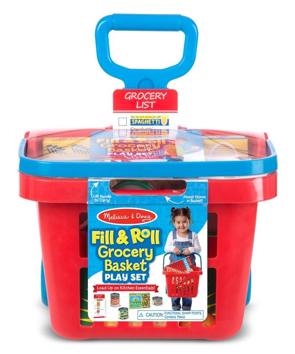 red grocery basket of Melissa & Doug Rolling Grocery Basket Toy Set