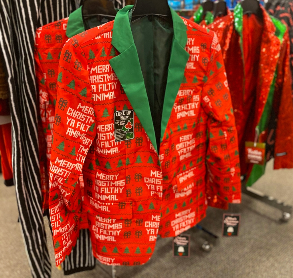 red and green men's christmas blazer that says merry christmas ya filthy animal allover