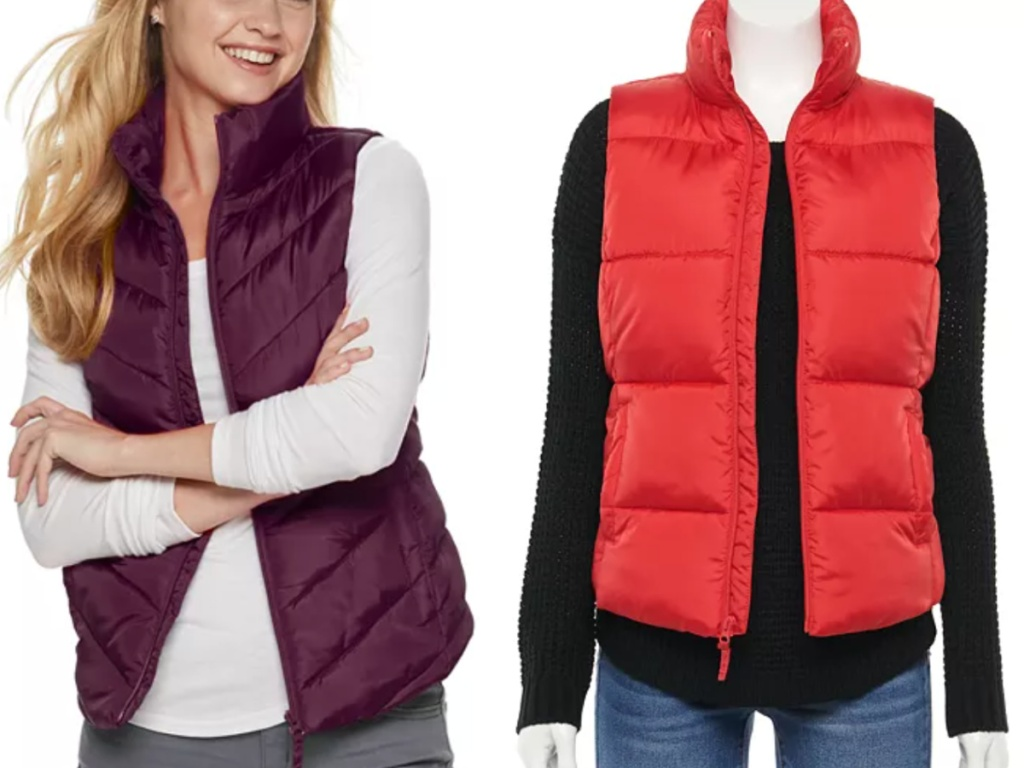 woman wearing burgundy puffer vest next to a bright red orange puffer vest