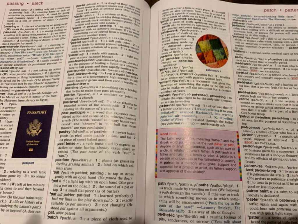 open pages of a dictionary