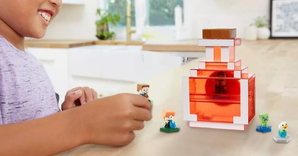 kid playing with Minecraft Potion Carry Along Case