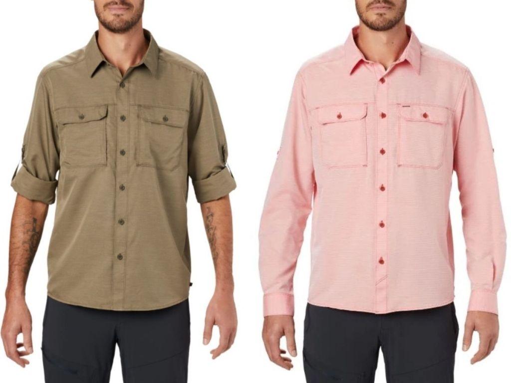 two men wearing long sleeve shirts