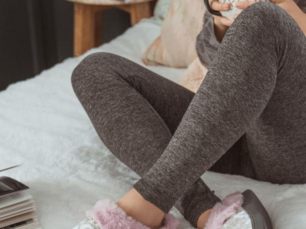 Woman wearing Fleece Lined Leggings
