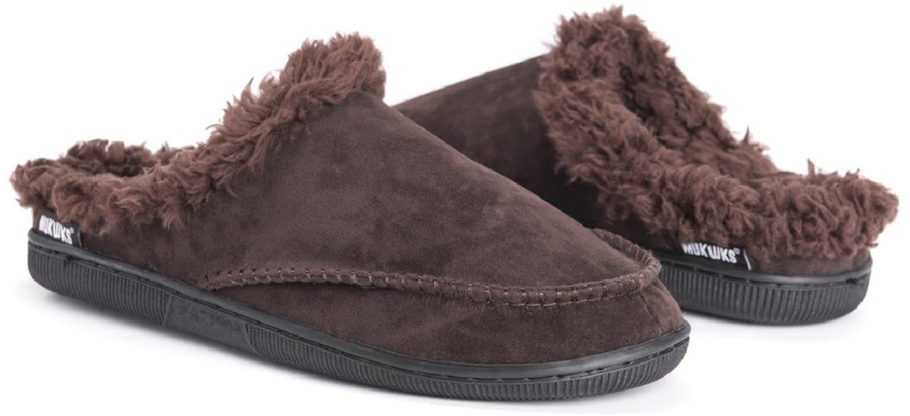 brown suede muk luks men's clog slippers