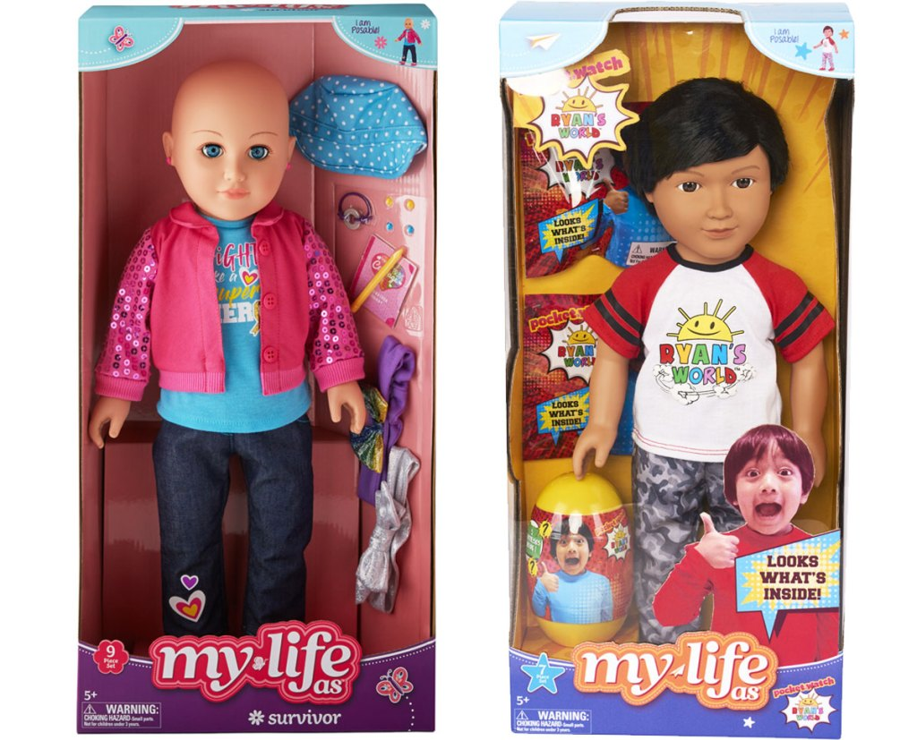 my life as a survivor and ryans world dolls in their boxes