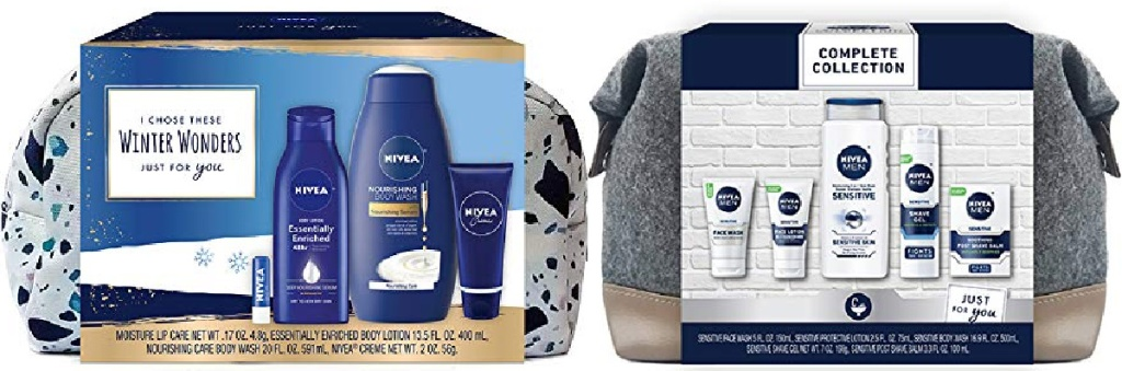 NIVEA 4-Piece Winter Wonders Skin Care Gift Set for Her and NIVEA Men's 5-Piece Complete Skin Care Collection for Sensitive Skin Gift Set
