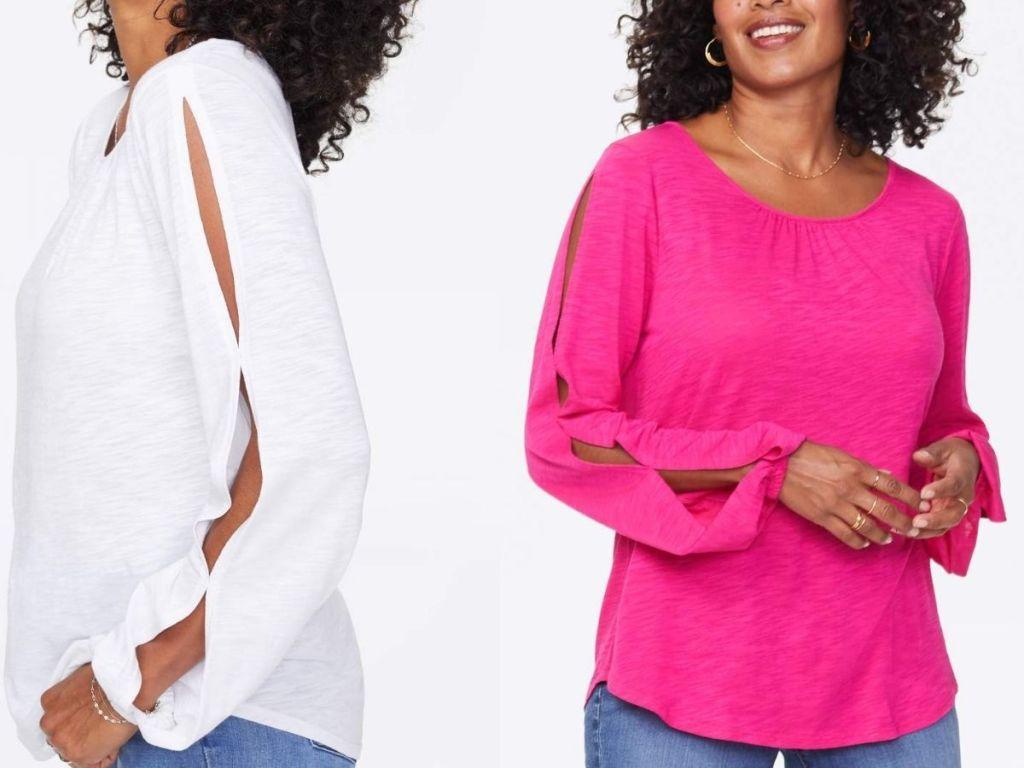 two women wearing side split sleeve tops