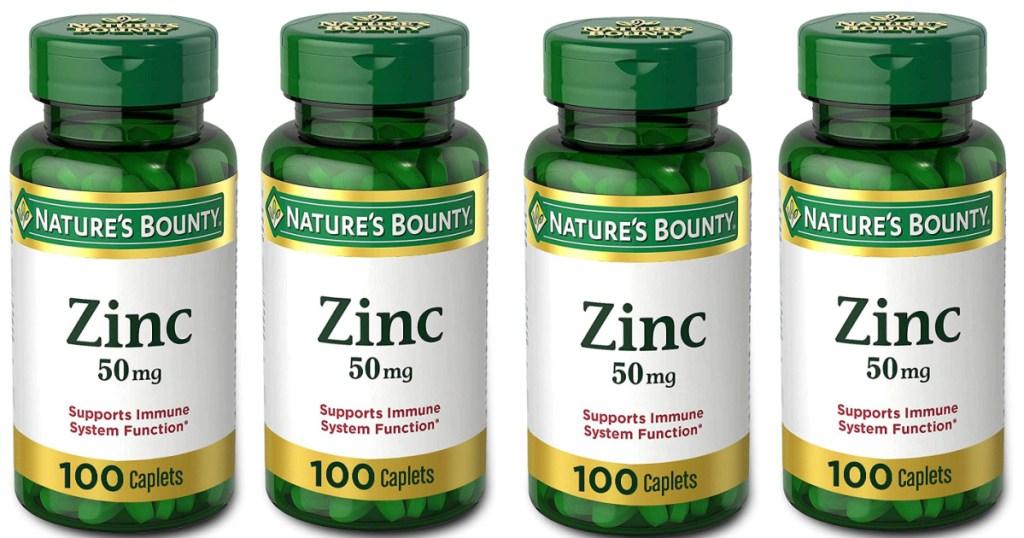 nature's bounty zinc supplement bottles