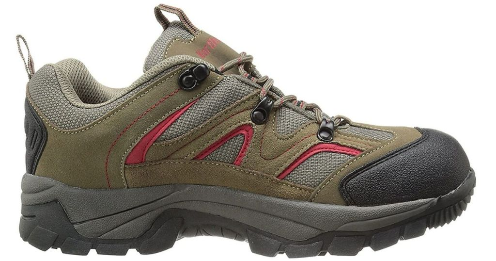 green and red mens hiking shoes