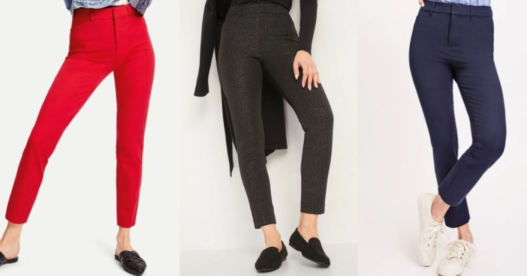 three women wearing Old Navy pixie pants