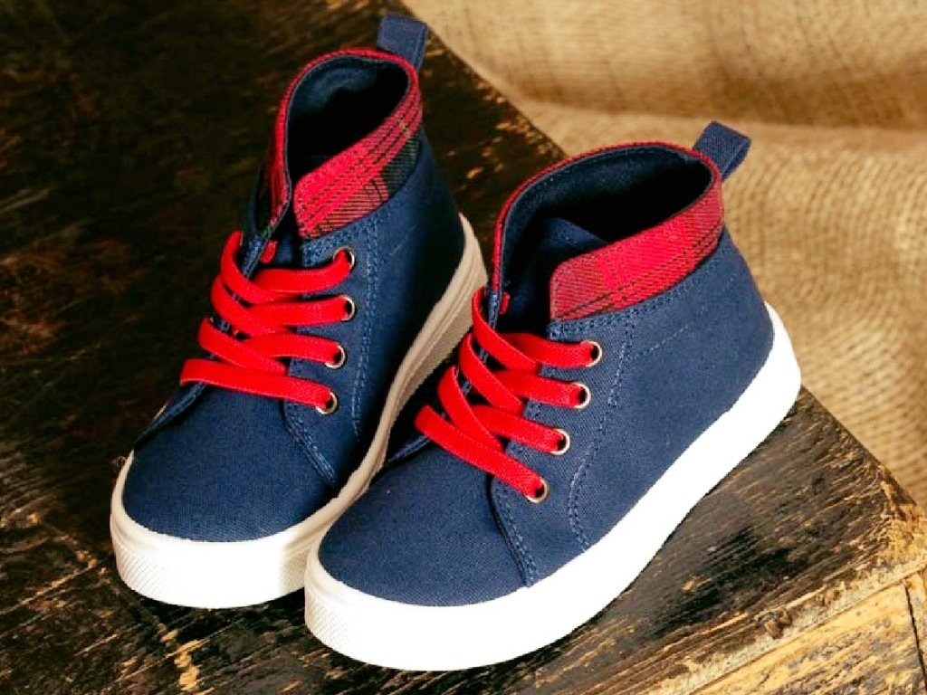 blue and buffalo plaid high top boys sneakers