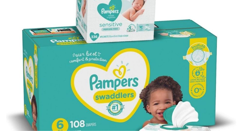 Pampers Swaddlers and Wipes Bundle stacked