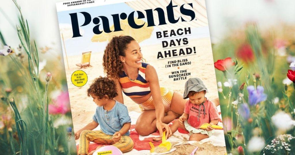 Parents Magazine in wildflower field