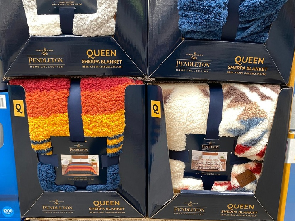 large sherpa blankets in store