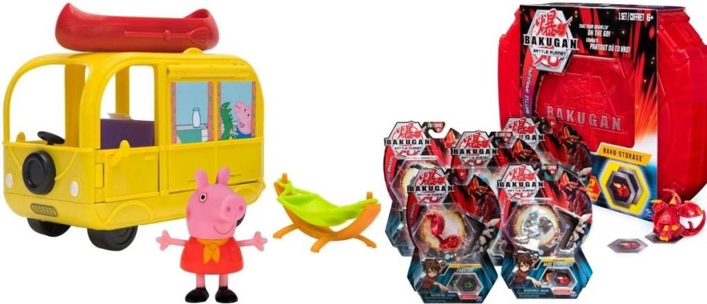 Peppa Pig and Bakugan toys