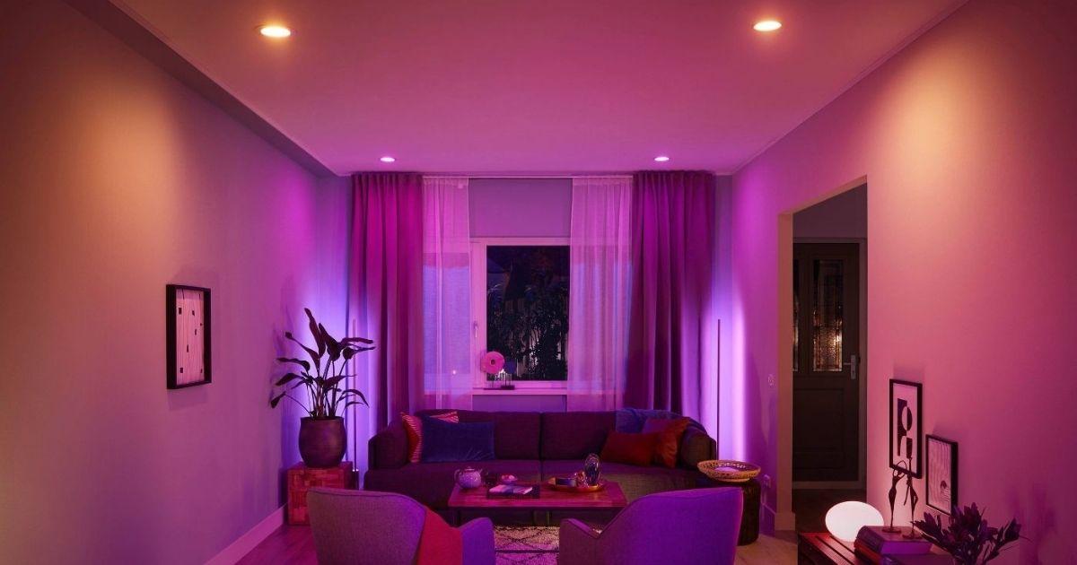 living room with purple writing