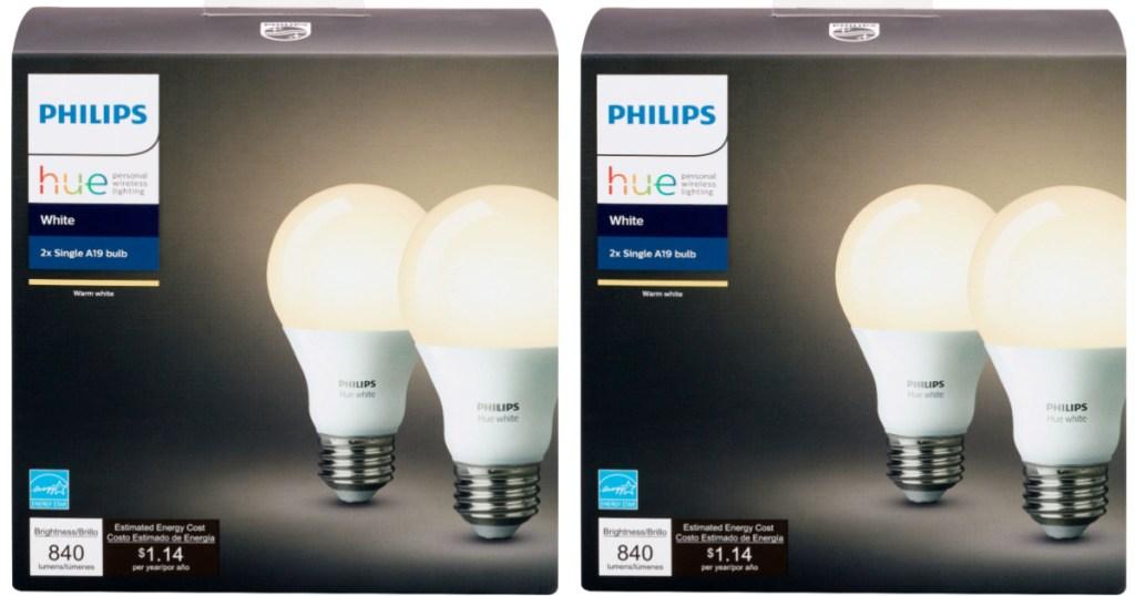 2 packs of philips hue smart light bulbs