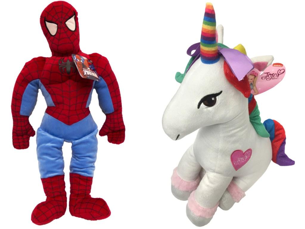 Spiderman and jojo siwa unicorn pillow buddies