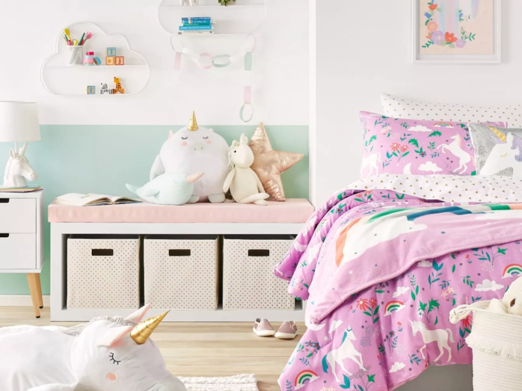 colorful child's room with pillowfort pillows