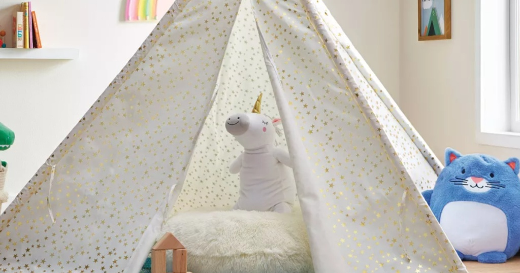 unicorn throw pillow in a kids tent