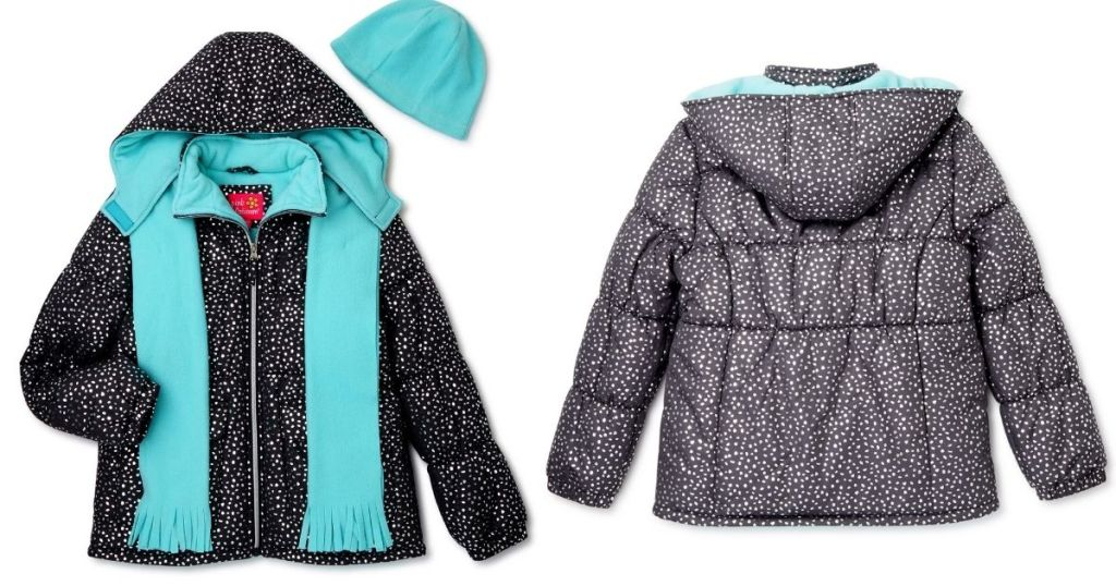 front and back of gray Pink Platinum Puffer Coat