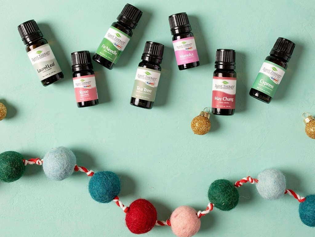 Plant Therapy Oils next to garland