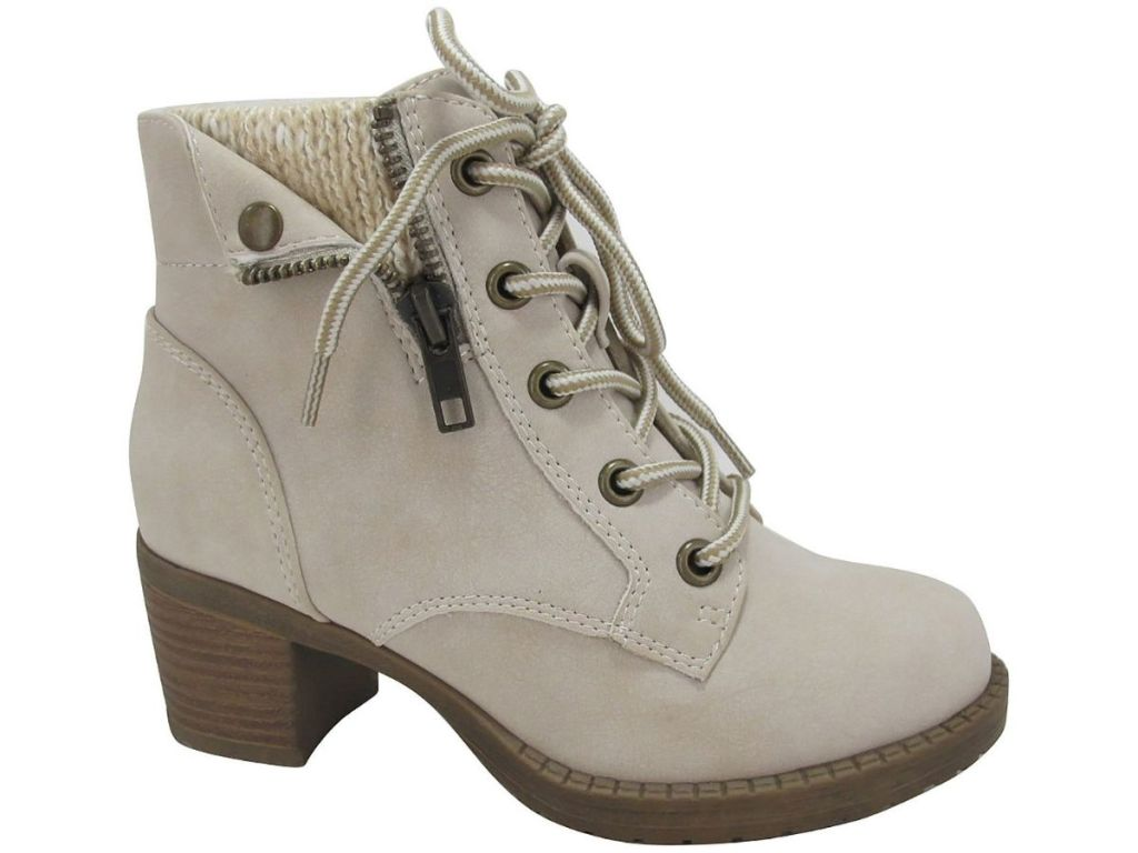 gray lace up booties with heel
