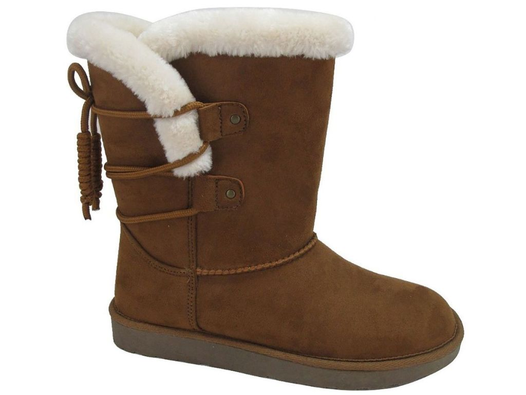 dark brown slip on boots with white fur lining