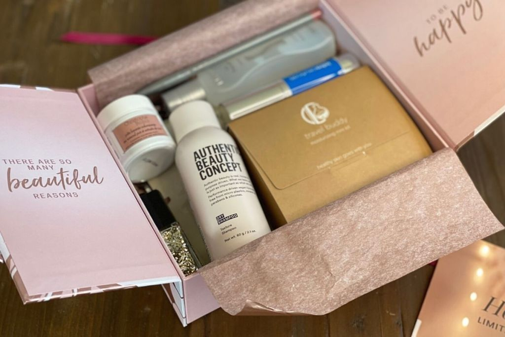 A beauty box full of skincare, haircare, and other beauty products