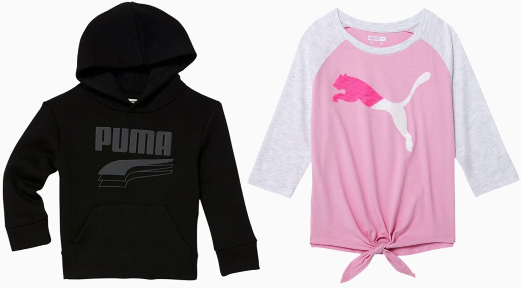 boys black puma hoodie and girls long sleeve shirt with front tie at hem