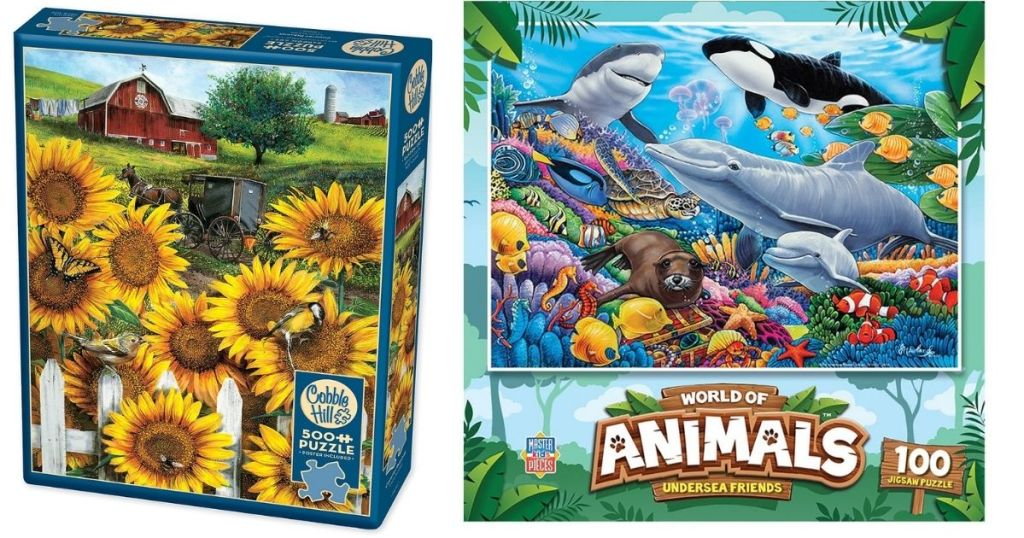 sunflower and under water animal puzzles