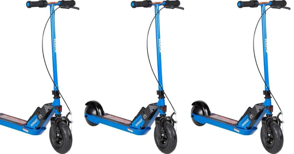 three razor scooters