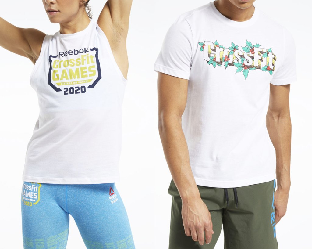 man in woman in white crossfit graphic tank top and tshirt