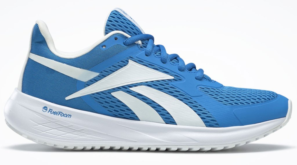 blue mesh running shoes with white reebok logo on the side