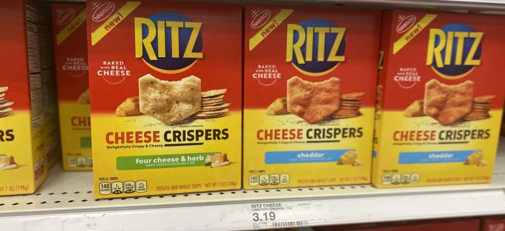 Ritz Cheese Crispers on shelf at Target
